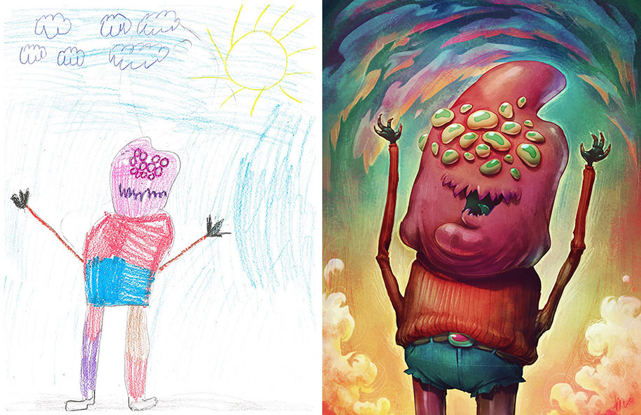 100 Artists Redraw Kids Doodles Of Scary Monsters In