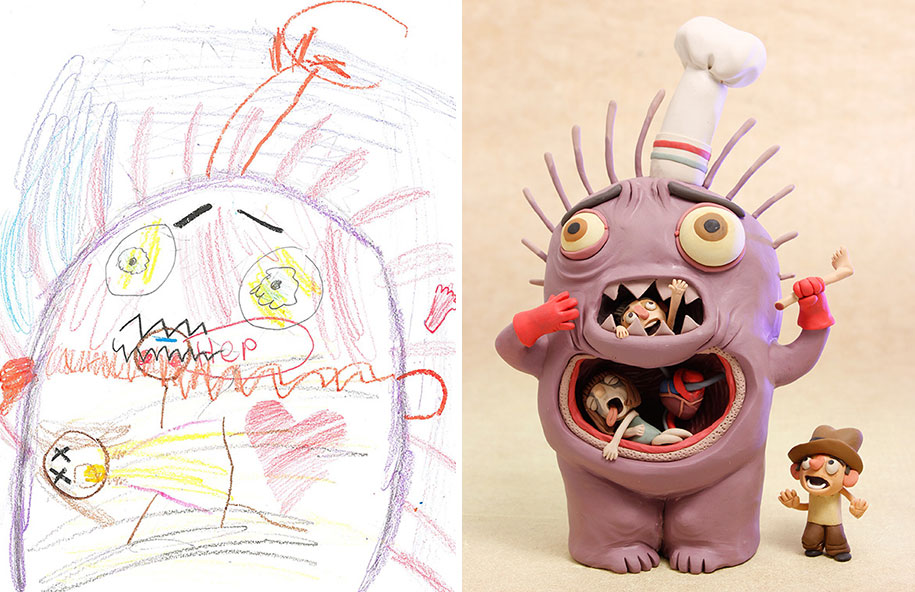 100 artists redraw kids doodles of scary monsters in for Artiste dessin