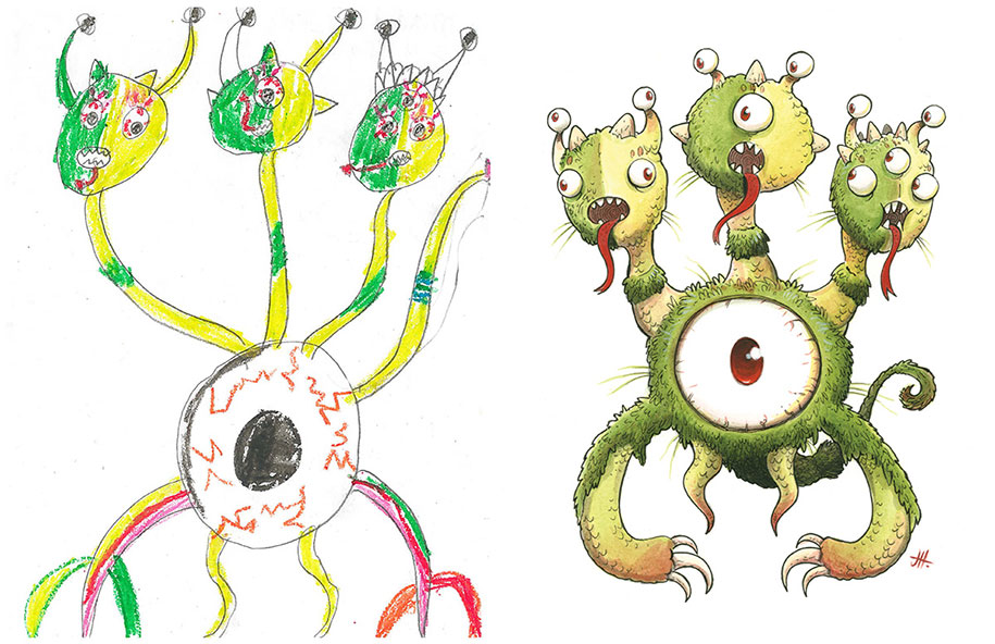artists-redraw-children-drawings-inspiration-monster-project-21
