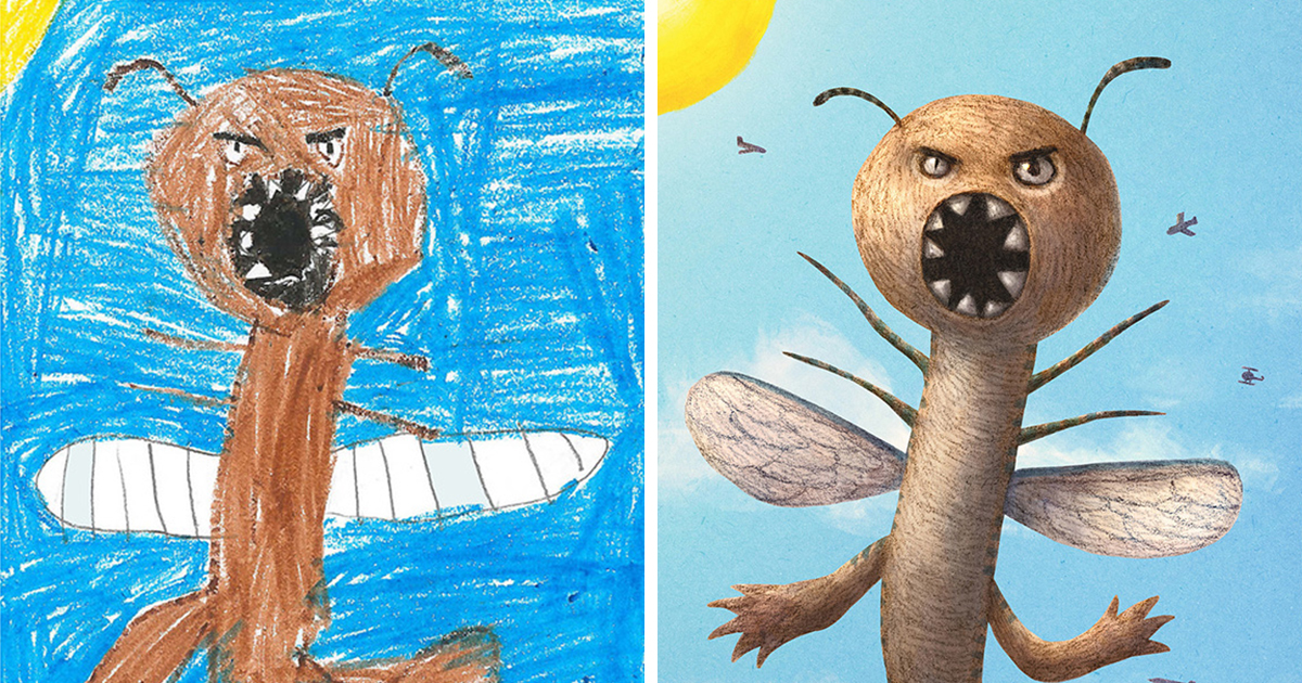 100+ Artists Redraw Kids' Doodles Of Scary Monsters In ...