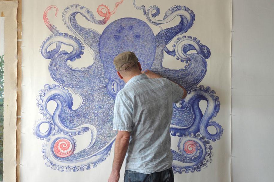 ballpoint-pen-drawing-deep-blue-octopus-raymond-cicin-5