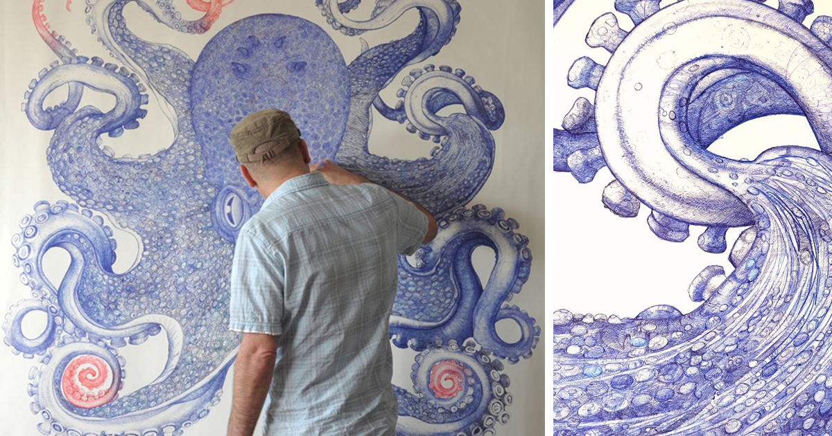 Giant octopus drawn using only discarded ballpoint pens for Draw with jazza mural