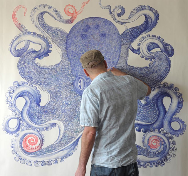 Giant Octopus Drawn Using Only Discarded Ballpoint Pens
