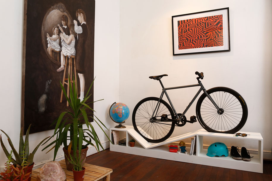 Modern small apartment living room design - Furniture Doubles As Bike Racks To Save Space In Tiny Apartments