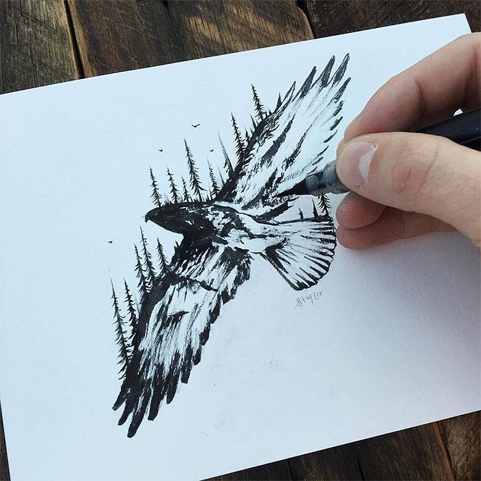 black-white-animal-landscape-hybrid-drawings-sam-larson-steel-bison-12