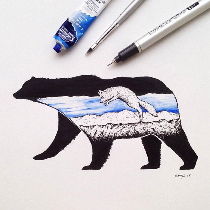 black-white-animal-landscape-hybrid-drawings-sam-larson-steel-bison-2