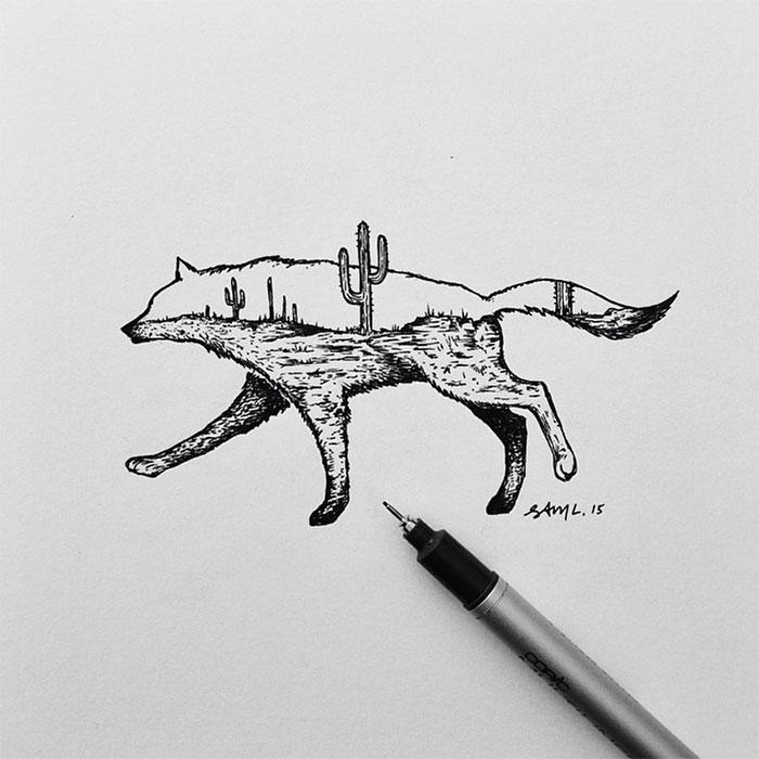 black-white-animal-landscape-hybrid-drawings-sam-larson-steel-bison-4