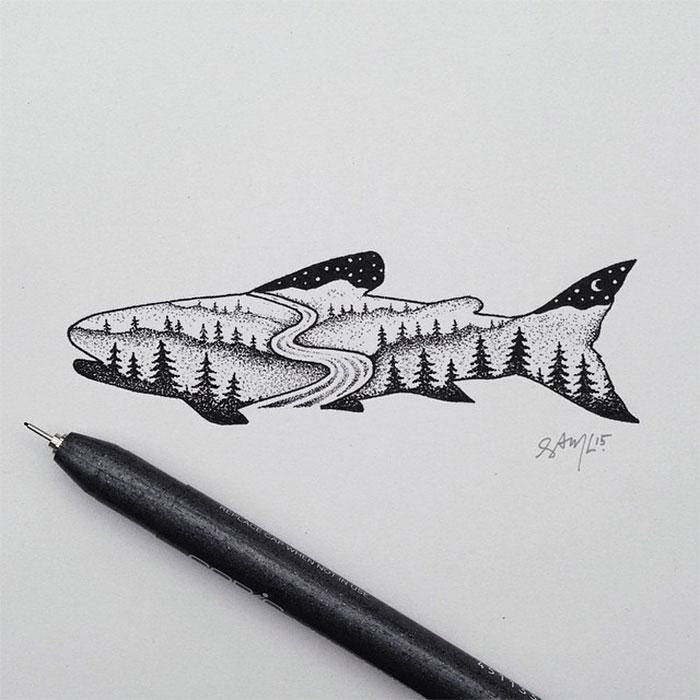 black-white-animal-landscape-hybrid-drawings-sam-larson-steel-bison-5