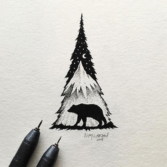 black-white-animal-landscape-hybrid-drawings-sam-larson-steel-bison-6
