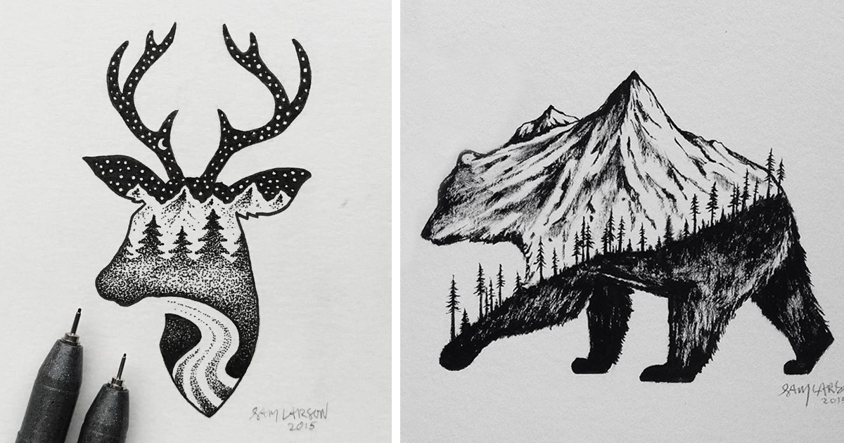 Miniature Hybrid Illustrations Of Wild Animals Combined With Landscapes