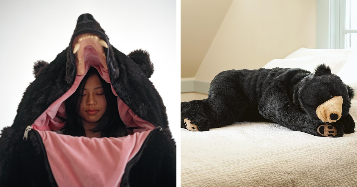 bear sleeping bag is perfect for scaring people while you sleep. Black Bedroom Furniture Sets. Home Design Ideas