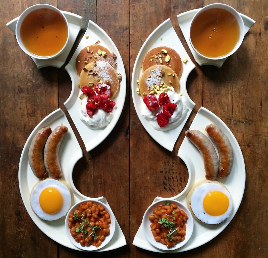 loving man prepares symmetrical breakfast for him and his boyfriend