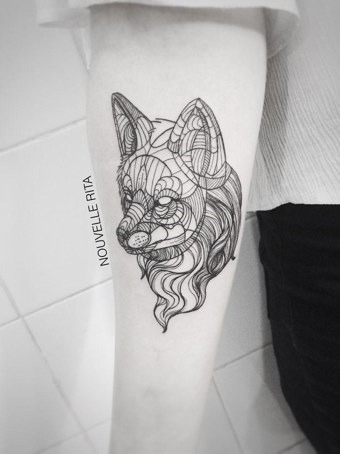 Line Art Animals Tattoo : Amazing minimalist linear tattoos by nouvelle rita