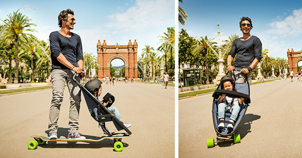 longboard stroller makes city walks fun for both kids and