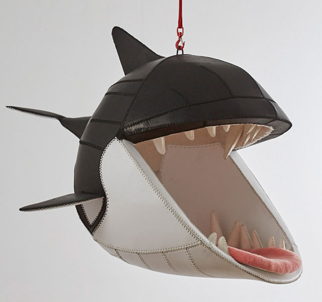 Hanging animal chairs let you sit in the mouths of predators for Product design chair