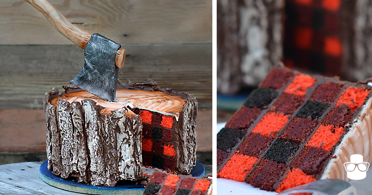 This Lumberjack Cake Has An Edible Axe And A Secret