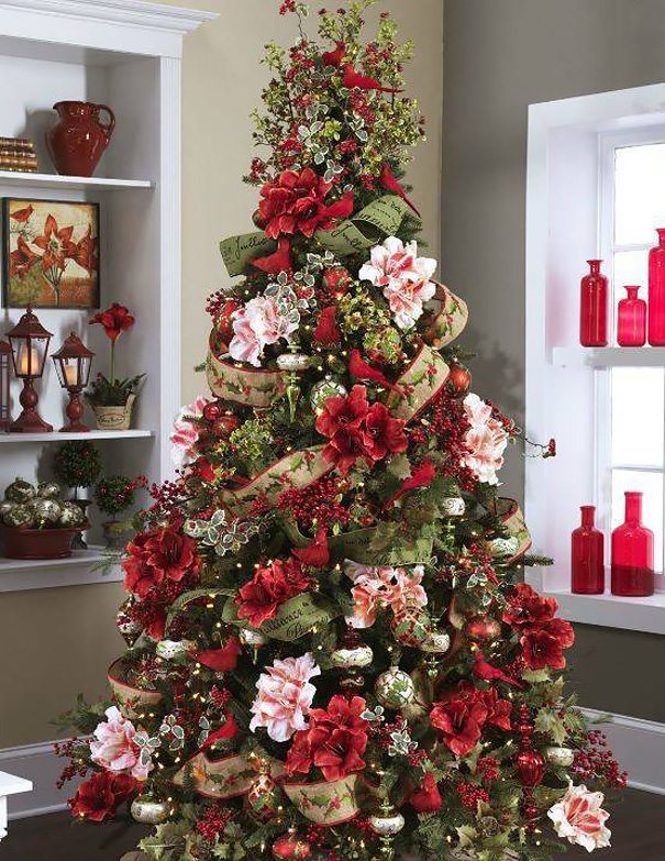 flower floral christmas tree decorations 6