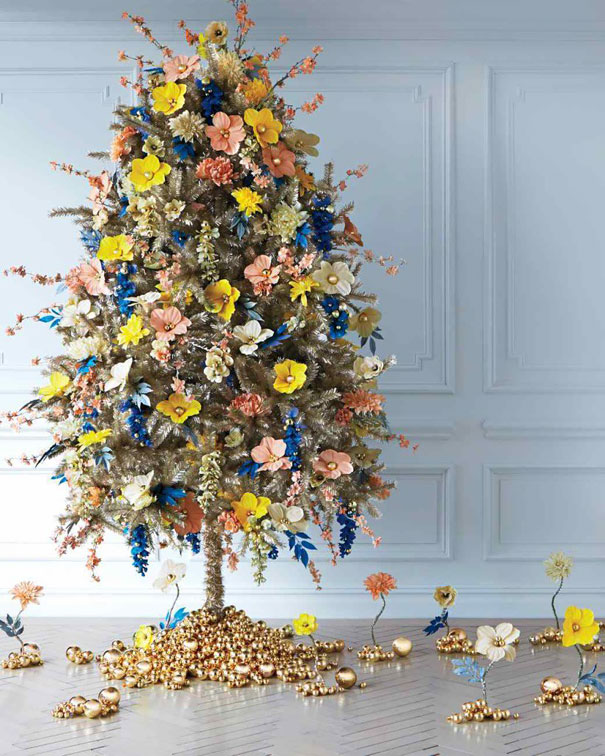 flower floral christmas tree decorations 9