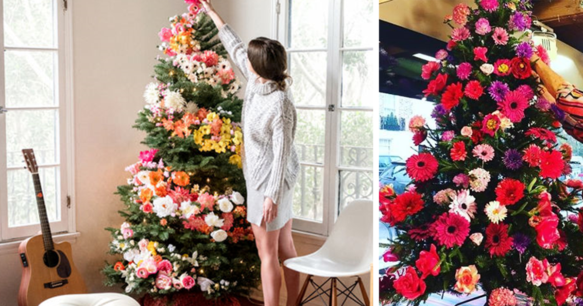 people use flowers to decorate their christmas trees and its beautiful