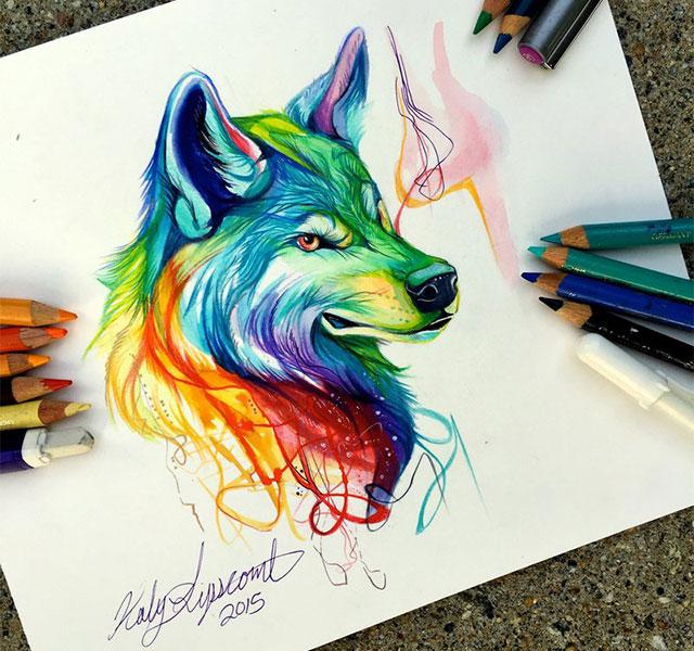 Wild animal spirit hand drawn illustrations by katy lipscomb