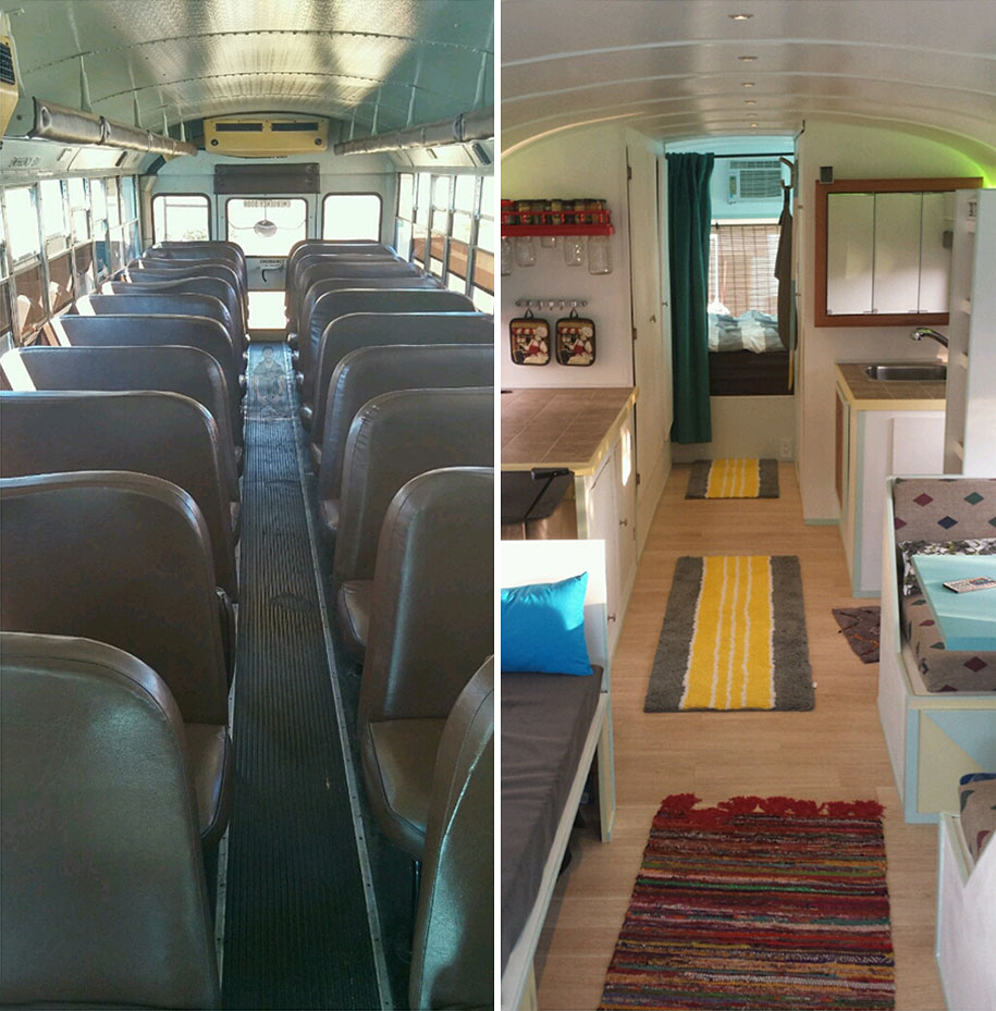 father and son converted a bus into a tiny mobile house