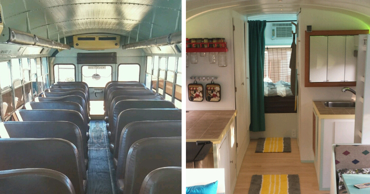 father and son converted a school bus into a tiny mobile