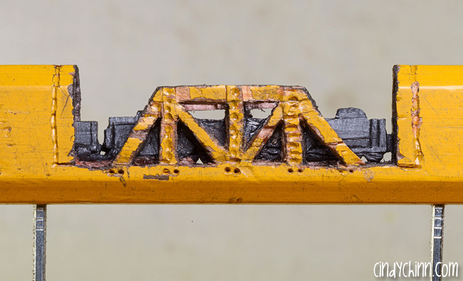 The tiniest train ever carved out of pencil lead by cindy