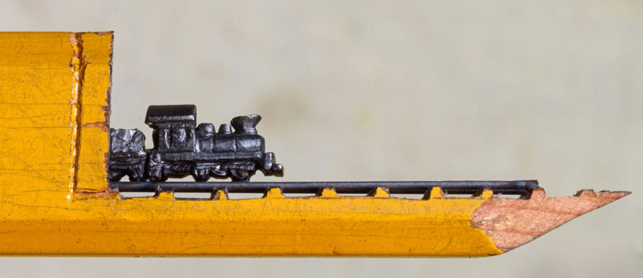 The tiniest train ever carved out of pencil lead by cindy chinn