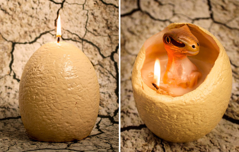 When This Dinosaur Egg Candle Melts It Hatches A