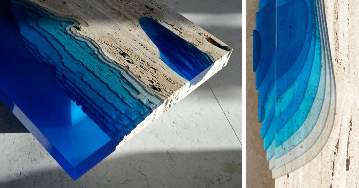 Handmade Lagoon Tables Made From Resin And Cut Travertine