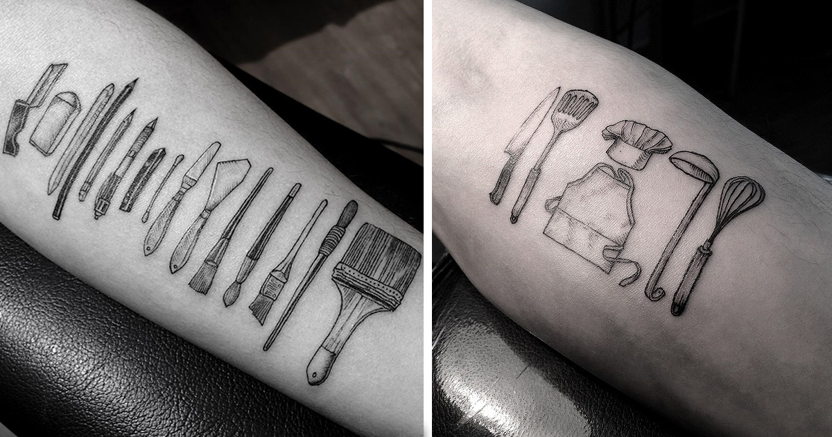 Artist tattoos people with the tools of their professions for Skin works tattoo