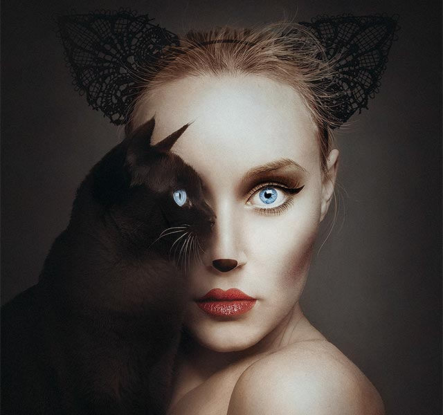 surreal self portraits replace one eye with an animal s eye