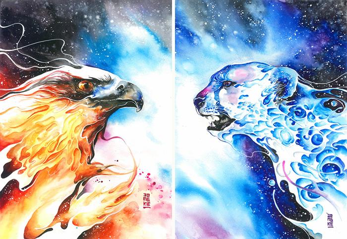 Expressive Watercolor Animal Paintings By Luqman Reza