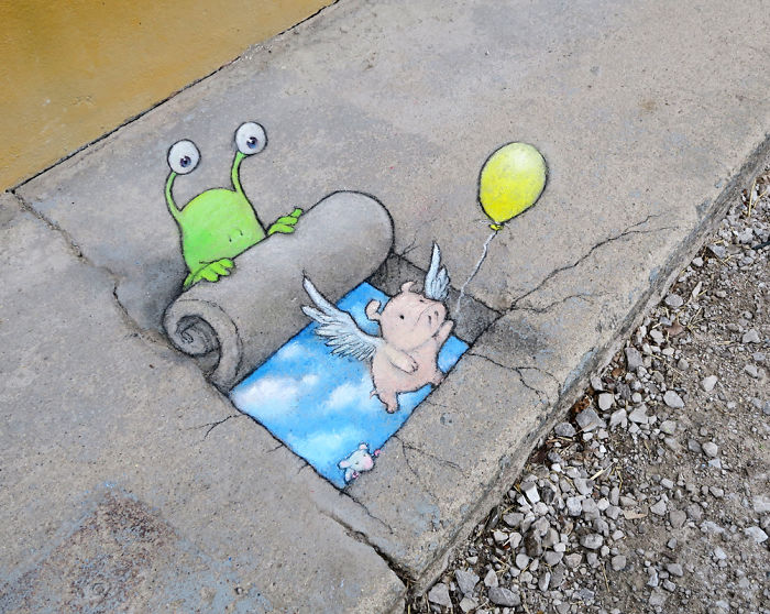 Chalk Drawn Creatures By David Zinn Take Over City Streets