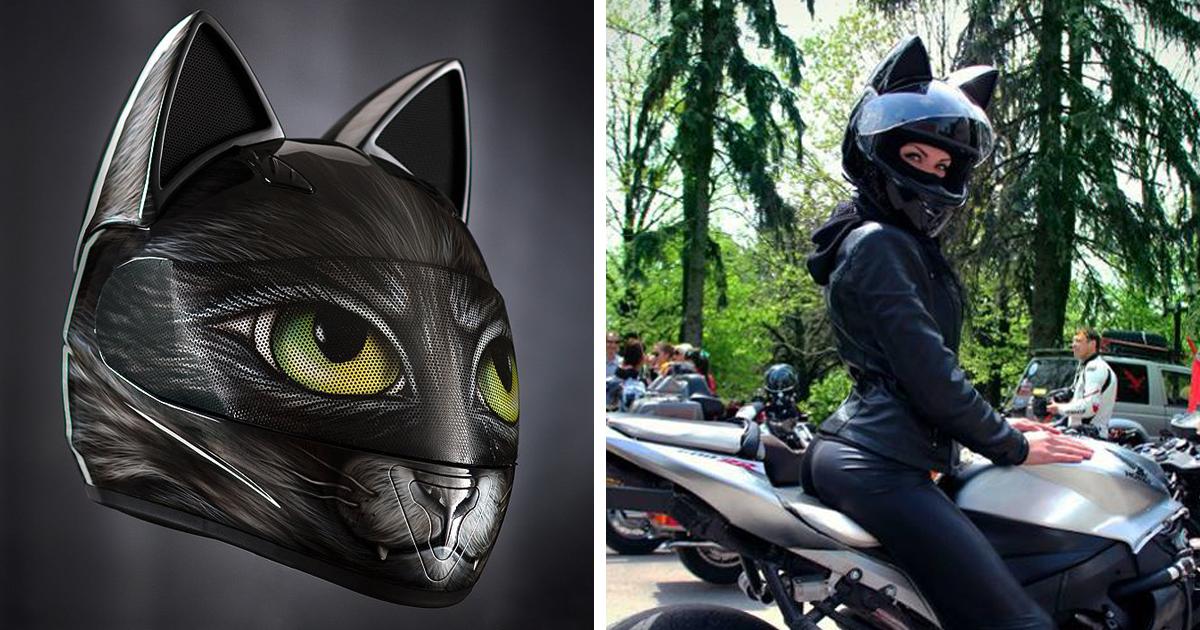 Black Cat Ears Motorcycle Helmet