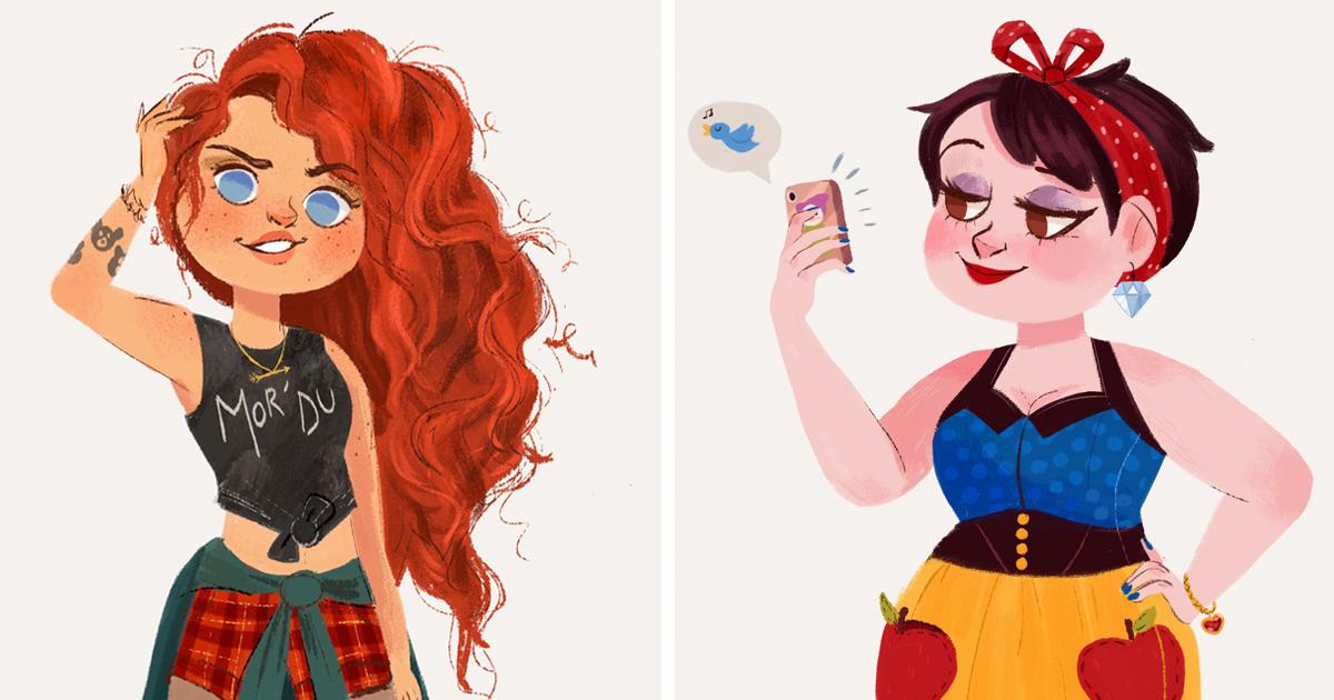Illustrator Imagines Disney Princesses As Modern Day Girls Living