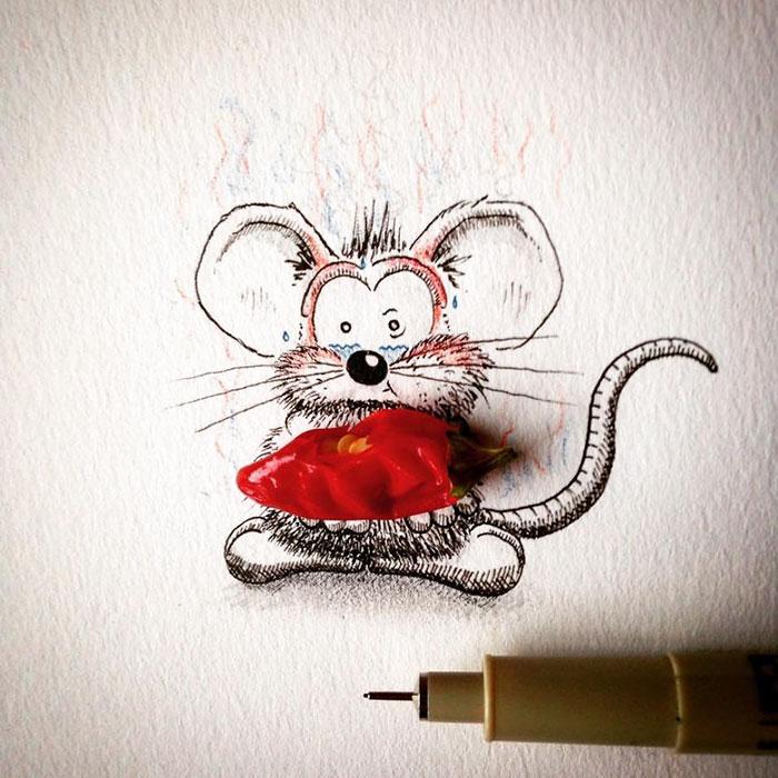 pencil-drawings-mouse-adventures-rikiki-loic-apredart-25
