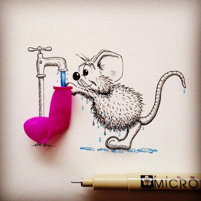 pencil-drawings-mouse-adventures-rikiki-loic-apredart-26