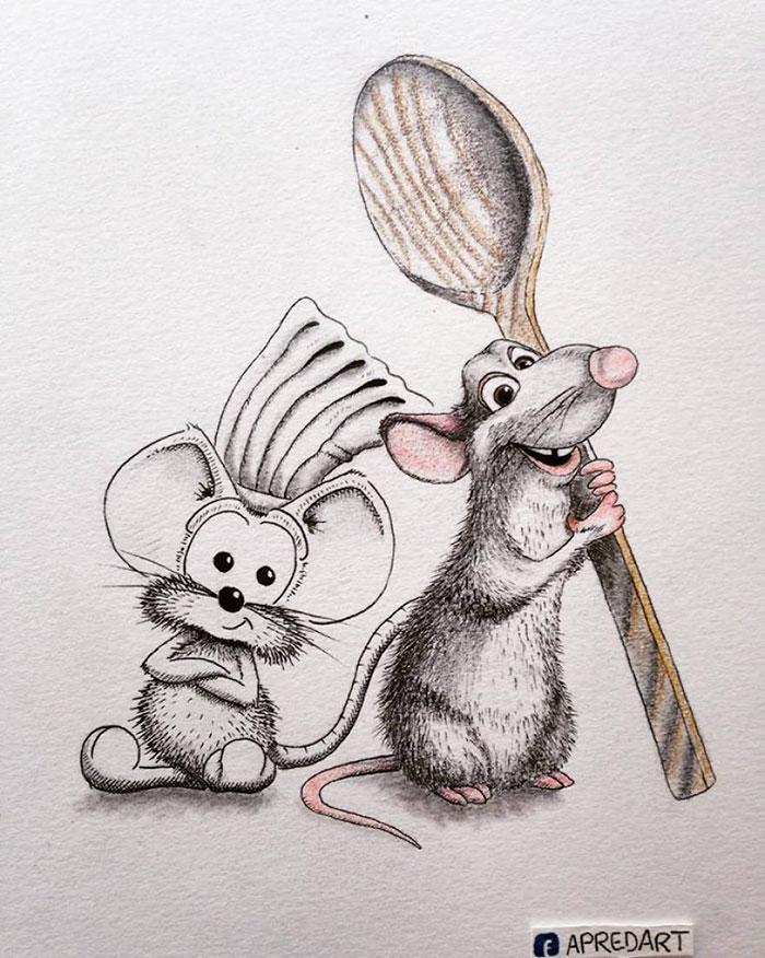 pencil-drawings-mouse-adventures-rikiki-loic-apredart-9