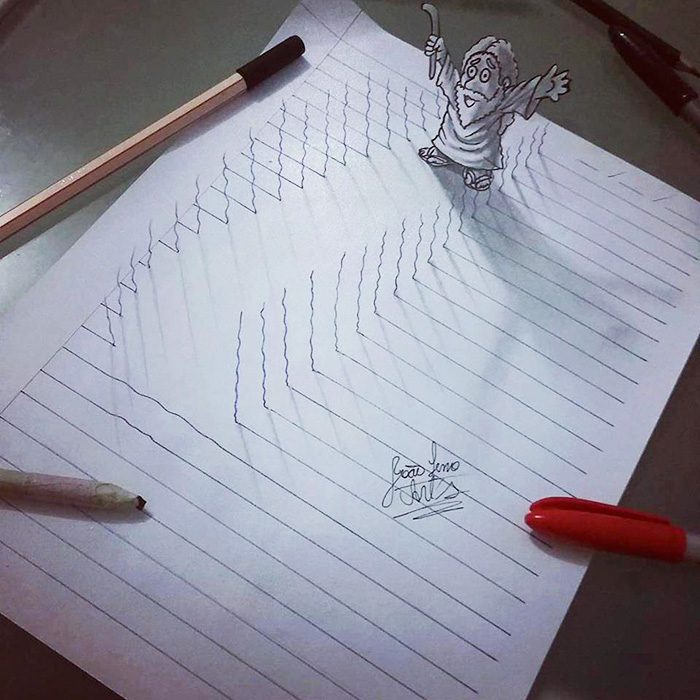 16-Year-Old Artist Draws Amazing 3D Optical Illusions In ...