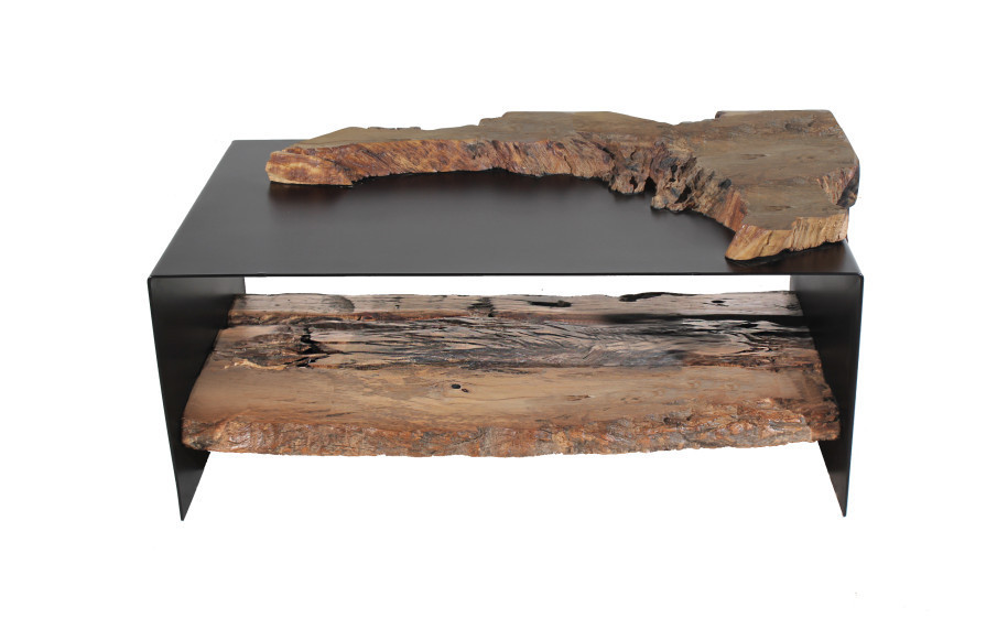 Coffee Table Made Out Of U0027Traviesau0027 Wood Combined With Black Metal