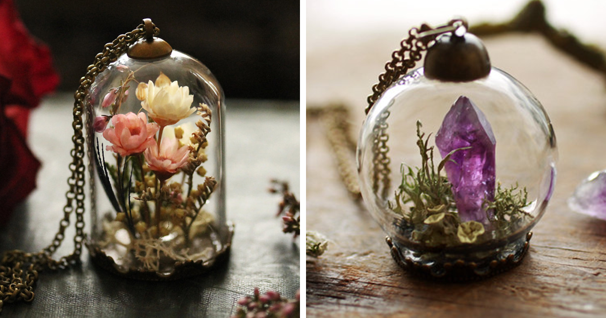 Terrarium Jewelry That Holds A Tiny Piece Of Nature In A Glass