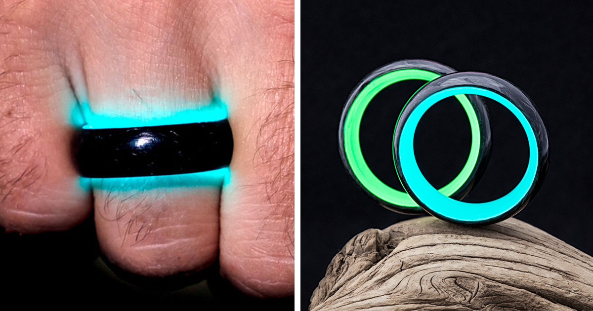 wedding rings made of carbon fiber and charged by uv light