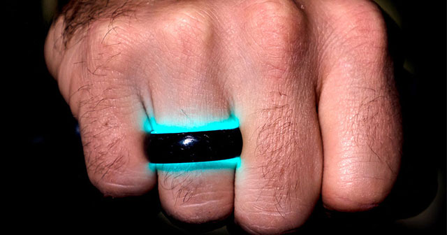 Carbon Fiber Wedding Rings Charged with UV Rays