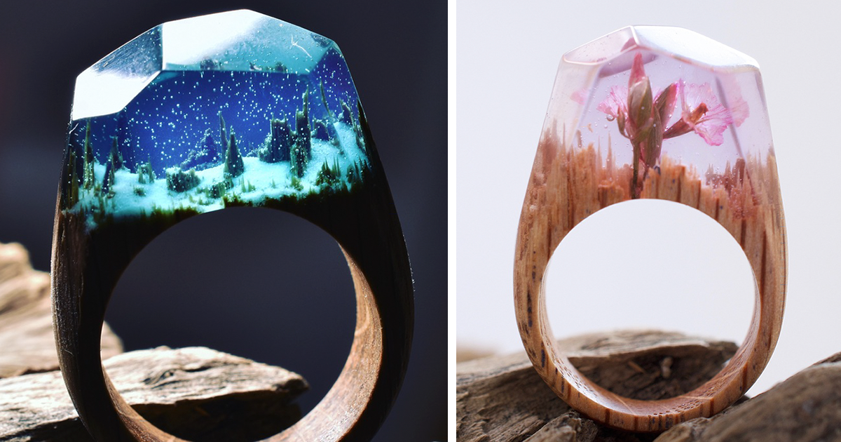 Tiny Worlds Hidden Inside Wooden Rings