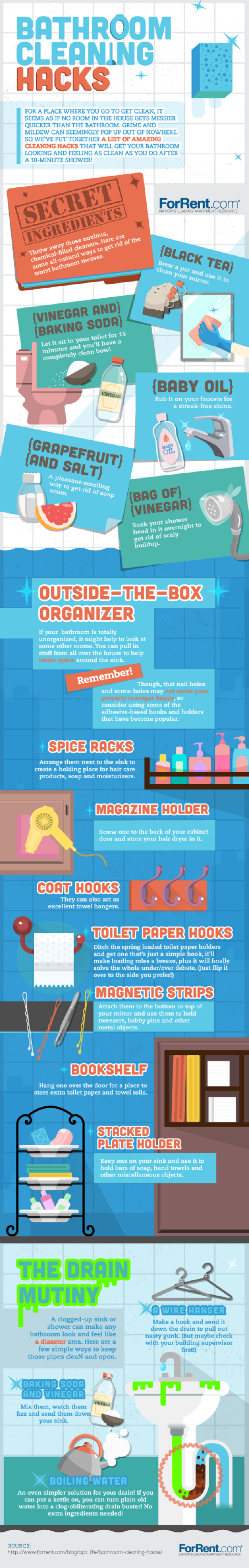 bathroom cleaning hacks infographic