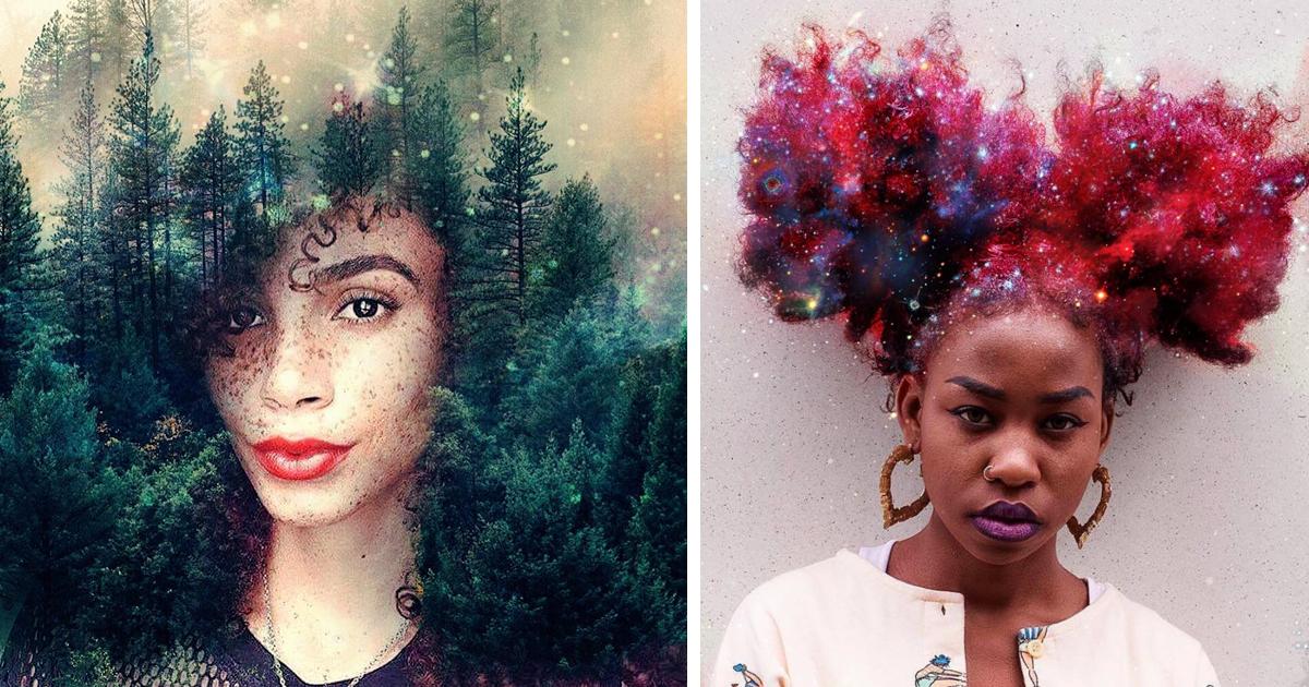 artist turns afro hairstyles  flowery galaxies