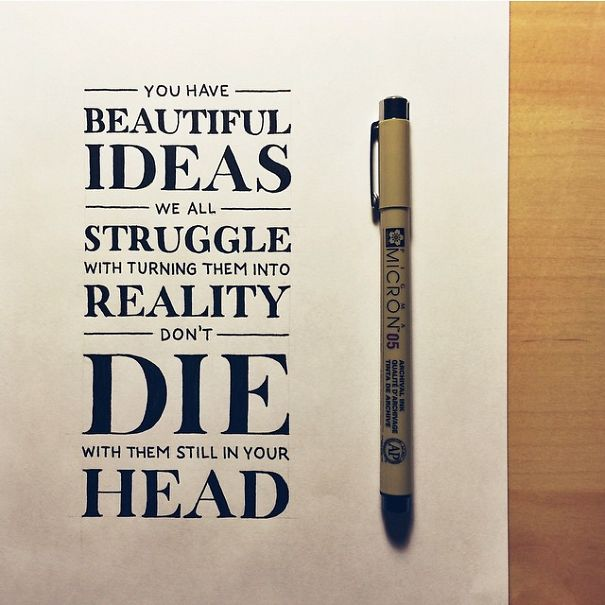 Inspirational quotes written in beautiful calligraphy