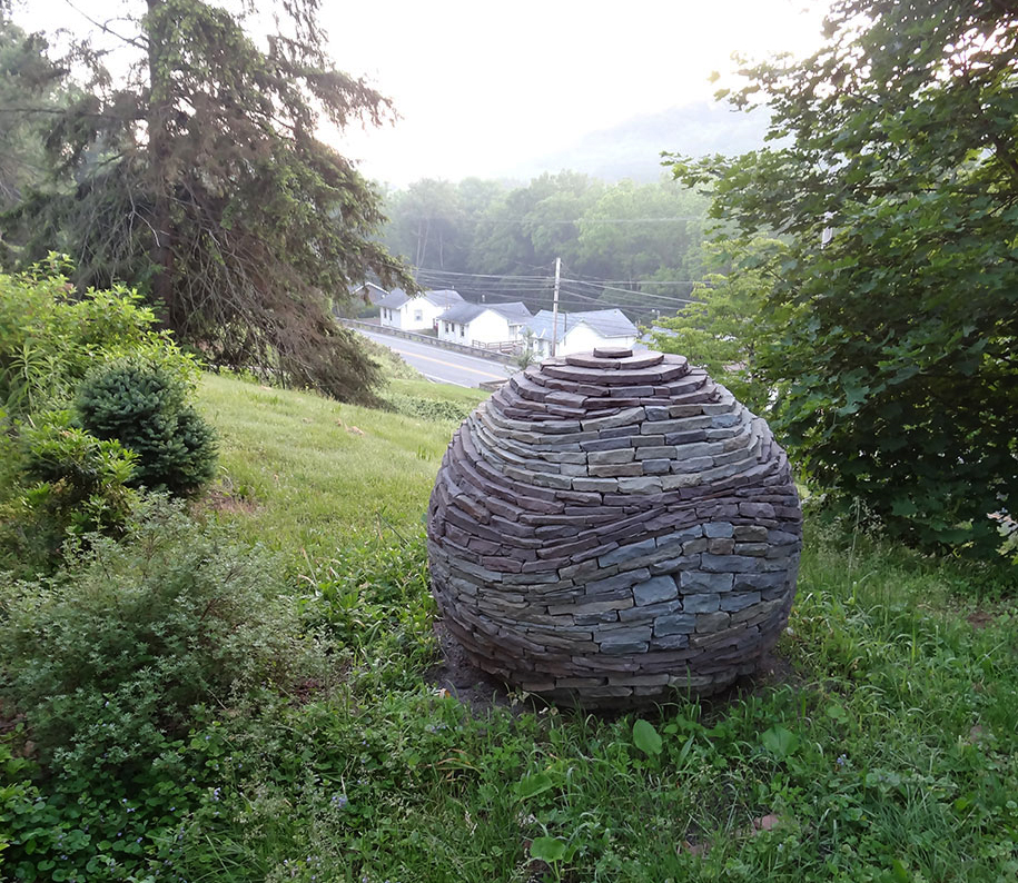 Stone For The Garden: Stacked Stone Garden Spheres By Devin Devine