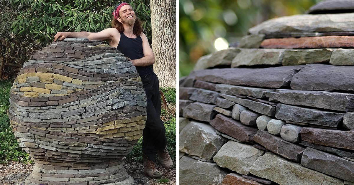 Stacked Stone Garden Spheres By Devin Devine